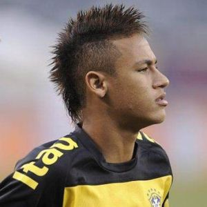 Neymar with his hair in a Faux Hawk lookalike Mohawk hairstyle