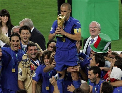 Cannavaro standing on podium