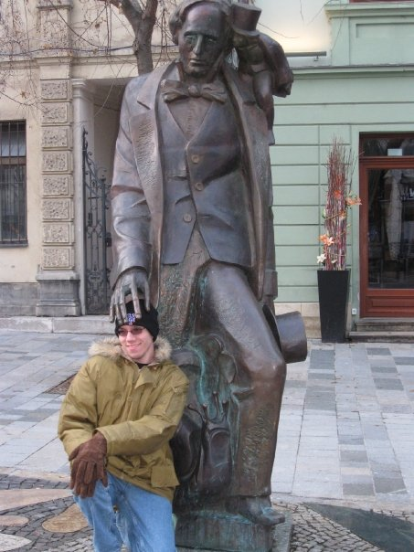 That's me, with the statue of Hans Christian Andersen in Bratislava.