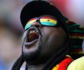Ghana fan with black star glasses