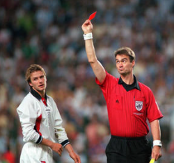 beckham red card